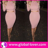 Wholesale women latest pink turtleneck crop top and skirt set