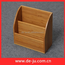 Office Desk Name Card Holder Natural Bamboo Container