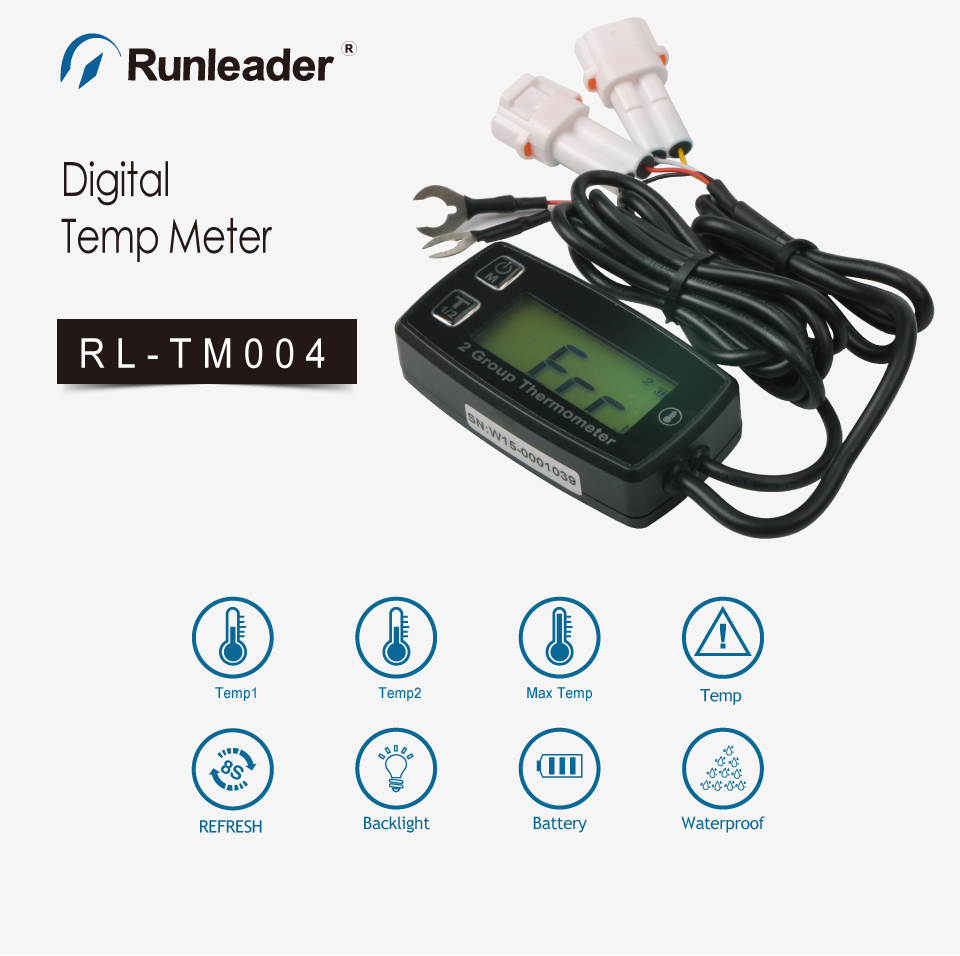 Runleader Digital 2 TEMP METER thermometer temperature meter for pit bike motorcycle generator snowmobile engine oil