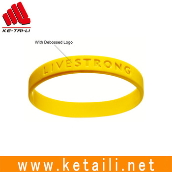 Silicone gift Bracelet or rubber wristband with debossed logo