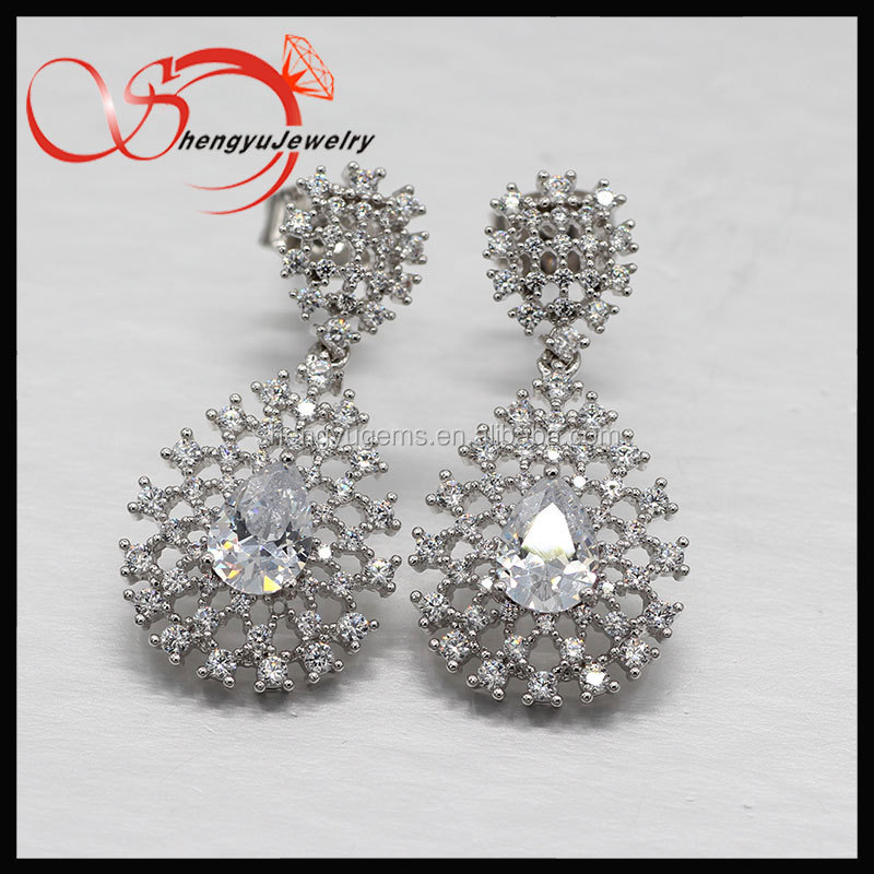 Hong Kong jewelry show Wholesale Fashion Luxury Plated Bridal Shining Clear Diamond earring