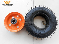 6x2 small pneumatic rubber wheels with metal rim