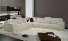 2013 Latest Design, Modern Genuine Top Grain Leather L Shaped Sofa Set can add modern arm chair A097-13