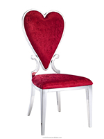 B8082 Heart sharp red fabric restaurant dining chair with stainless steel frame