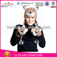 Mountain Lion Knitted Winter Adult Beanie Fur Hat Animal Ears