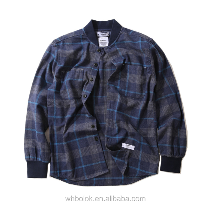 Wholesale factory OEM shirt jacket checked wool baseball collar shirt