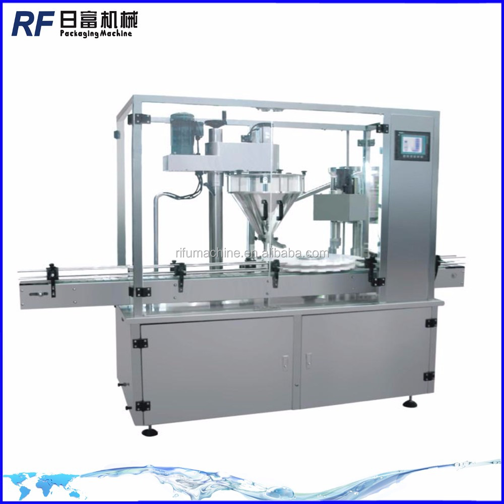 Automatic vial powder filling machine with rubber stopper