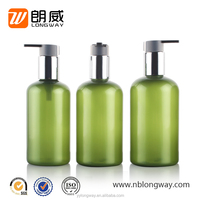 150ml 200ml 300ml Empty Green Plastic PET Bottle Shampoo Bottle Boston Bottle With Aluminum Lotion Pump