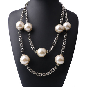 DIY Monogrammed Big Pearl Necklace Wedding Necklace Pearl Jewelry