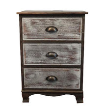 3 Drawers Burnt Paulownia Wood Antique storage cabinet