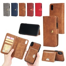 Simple Style Pure Color With Detachable Back Phone Cover PU Leather Magnetic Phone Case for iPhone X
