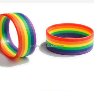 High Quality Stock gay pride rainbow silicone wristband
