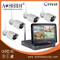 Top quality 4ch digital wireless cctv camera kits with 10.1 inch lcd screen