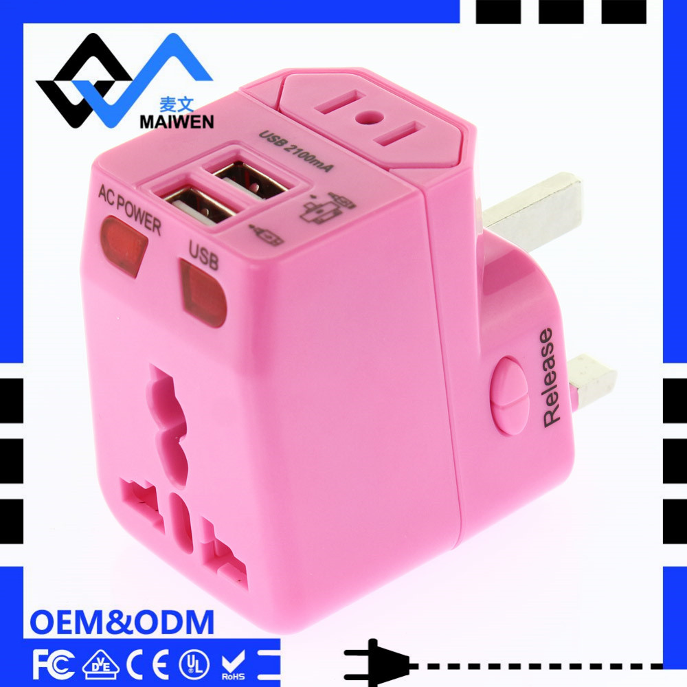 2016 Top selling Universal travel adaptor with USB ports 5V 2.1A
