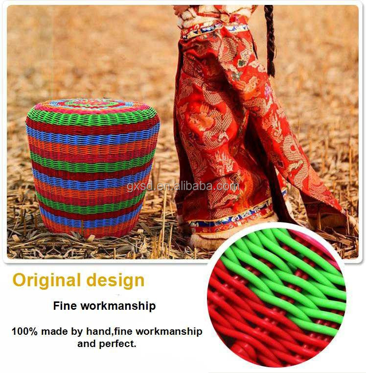 shangdi home goods colorful PE rattan round ottoman storage stool