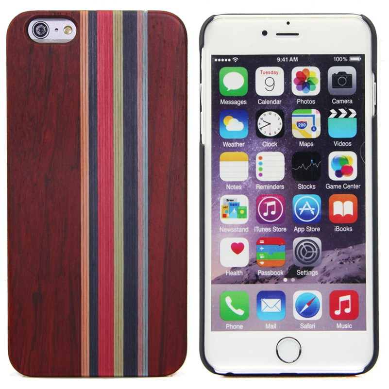 4 corners color mixing phone covers wood for iphone 6S,wood back phone cover for iphone 6