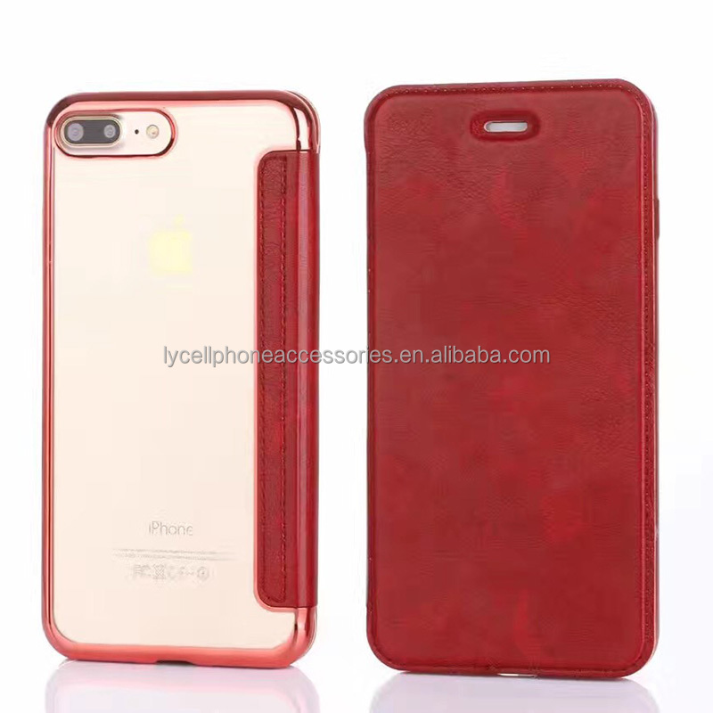 High Quality Soft TPU Electrolated Leather Cell Phone Case Cover Skin for iphone7 plus