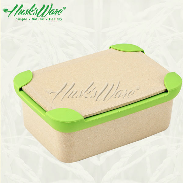 Reusable To Go Lunch box with silicone leakproof ,rice husk food container natural