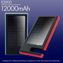 Solar Energy Mobile Power Bank 12000mAh External Battery Charger Dual USB Output with Flashlight & Mobile Phone Stand Portable S