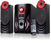 Long lasting sound with home theater system 2.1 bluetooth speaker