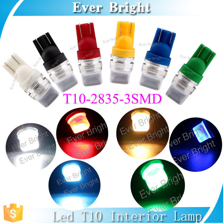 Colored w5w lee auto T10 led light lamp 3 smd car interior led lights 2835 smd led specifications