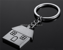 New Hot Novelty Zinc Alloy House Shaped Keychains Metal Cottage Keyrings