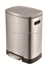 40L Square cylinder kitchen stainless steel foot pedal trash bin