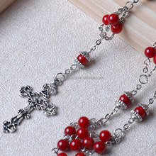 Hefeng 6mm round red Coral Rosaries Top Grade Catholic Gifts