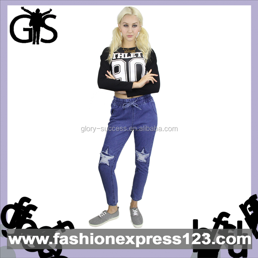 Wholesale New Style Fashionable Casual Blue Women Jeans