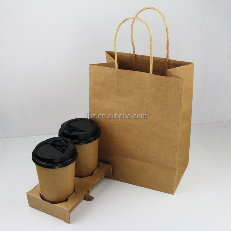 2016 plain cheap brown kraft paper coffee bags with handles