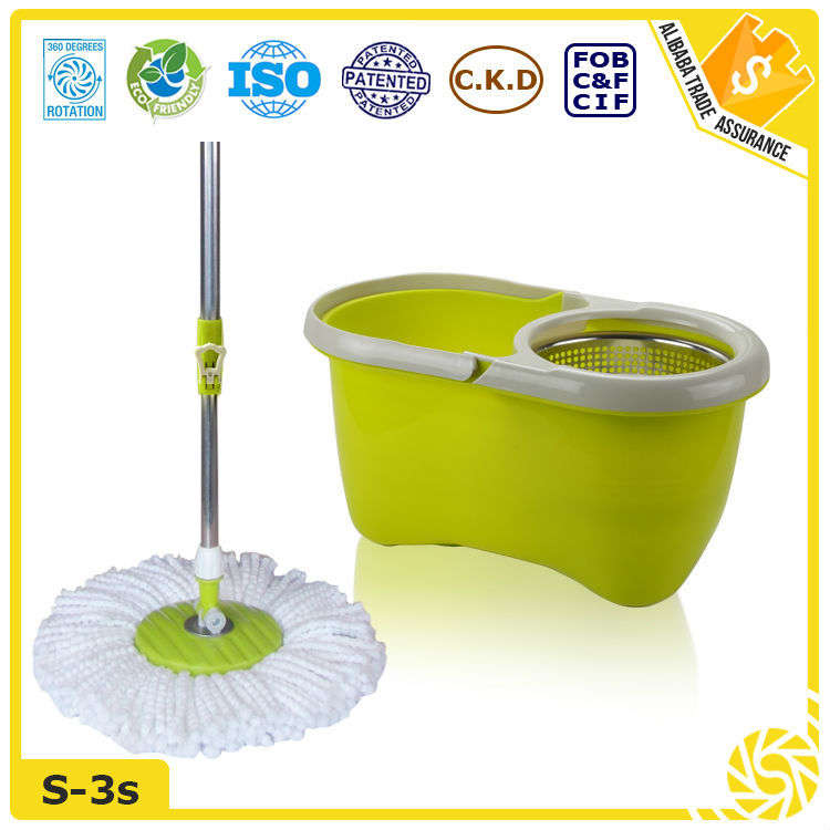 Hand Press Stainless Steel Basket Microfiber Auto Dust Mop