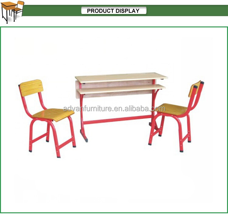 Metal school furniture Steel frame study desk and chair set