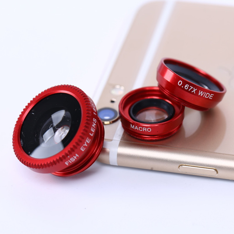 3 in 1 Fisheye Lens & Macro Lens & 0.4X Super Wide Angle Lens, Clip on Cell Phone Lens Camera Lens Kits for iPhone 7