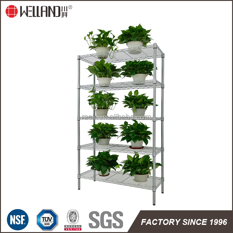 Best quality 5 tiers garden chrome metal rack / flower and plant metal shelving