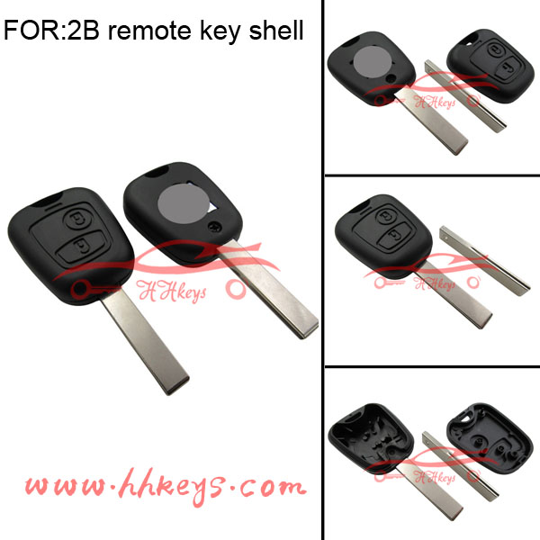 Car Key For Peugeot 2 Button Remote Control Key Shell No Battery