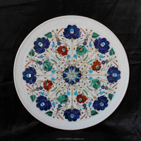 Christmas Gifts Antique Design Plate White Marble Inlaid Pietre Dure Home Decor