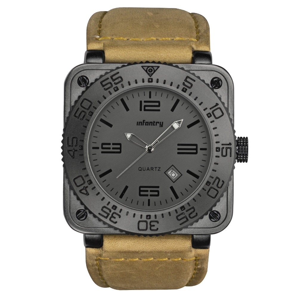 INFANTRY GENUINE LEATHER Metal Waterproof Tactical Military Quartz Sport Watch