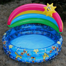 PVC customized inflatable baby swimming pool with sunshade
