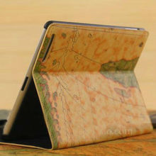 Fashion retro map style high quality leather flip smart cover case for ipad 4