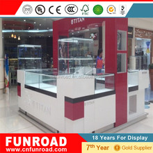 hot sale cell phone store interior design kiosk furniture glass mobile phone display counter showcase with led light