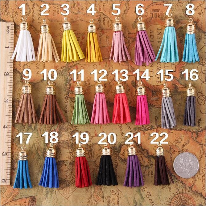 Mini faux suede leather keychain tassel wholesale