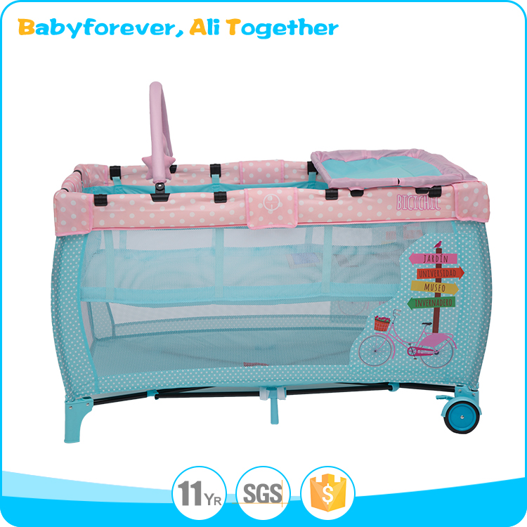 2017 Standard size china importers folding attachable luxury baby cot bed crib
