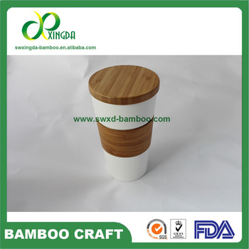 factory direct sale 2017 new design Mugs with bamboo lid and bamboo cup cover