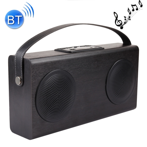 A006 Portable Wood BT V2.1 Stereo <strong>Speaker</strong> with Mic, Support Hands-free & AUX Line In & FM & USB Power Bank & LED Display