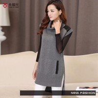 Comfortable Long Sleeve Warm Latest Design Ladies front short back long cotton sweater