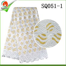SQ051 Queency New Sample Wave Pattern Embroidery Big Heavy Swiss Voile Lace Fabric for African Wedding and Party