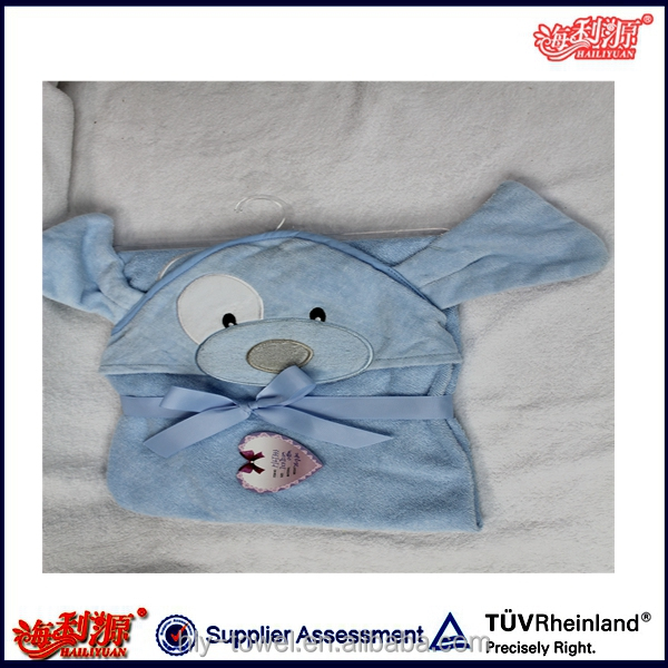 China factory embroidery cute animail baby hooded poncho towel