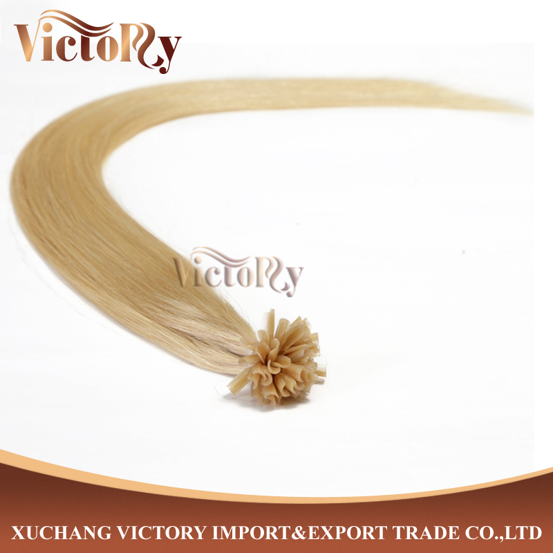 100%human hair nail/u-tip/pre-bonded hair extensions double draw hair