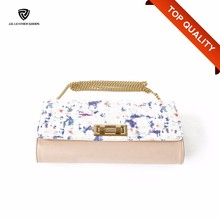 Lady Printed Metal Chain Strap Cute PU Leather Cross Body Bag for Party