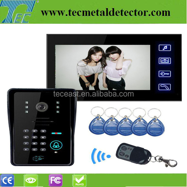 7 inch waterproof wired doorbell video intercom with keypad and ID cards TEC706VJIDS11